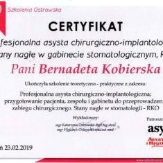 Bernadeta Kobierska Certyfikat chirurgia stomatologiczna implantologia