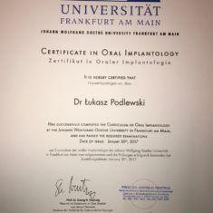 Certyfikat Dr Łukasz Podlewski - Dentysta Toruń