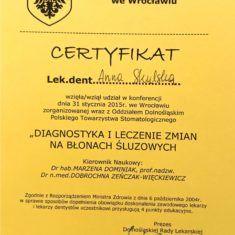 Anna Skulska certyfikat diagnostyka i leczenie zmian na blonach sluzowych