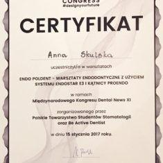 Anna Skulska certyfikat endo poldent warsztaty