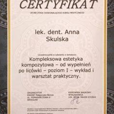 Anna Skulska certyfikat kompleksowa estetyka kompozytowa