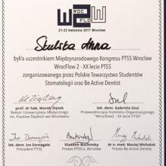 Anna Skulska certyfikat kongres PTSS Wroclaw