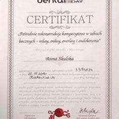 Anna Skulska certyfikat rekonstrukcje kompozytowe w zebach bocznych