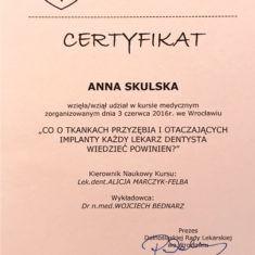 Anna Skulska Certyfikat tkanki przyzebia i implanty