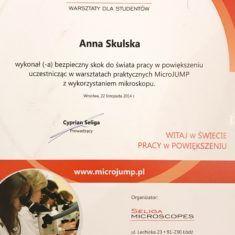 Anna Skulska certyfikat warsztaty mikroJUMP mikroskop