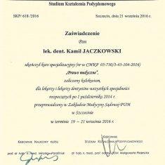 Certyfikat kwalifikacji - Kamil Jaczkowski Dentysta Toruń